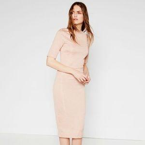 Zara Pink Textured Midi Sheath Dress